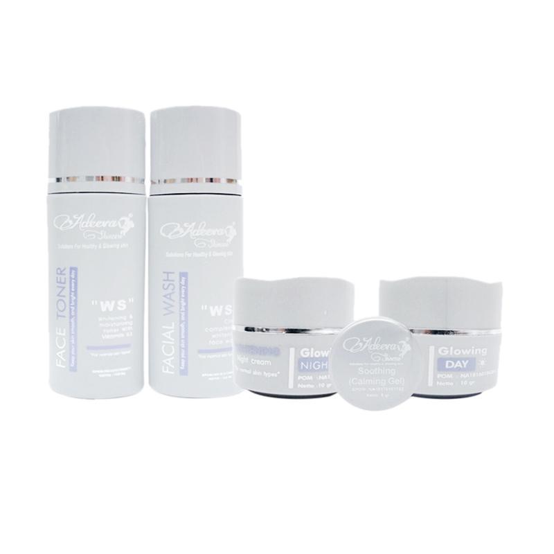Adeeva Skincare Whitening - Basic Glowing tanpa Serum Paket Perawatan Kulit [5 pcs]