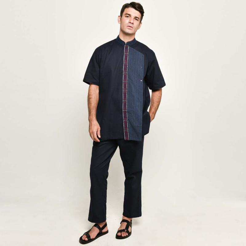 Adrie Basuki Tenun Baduy Ashura Short Sleeve Shirt Navy