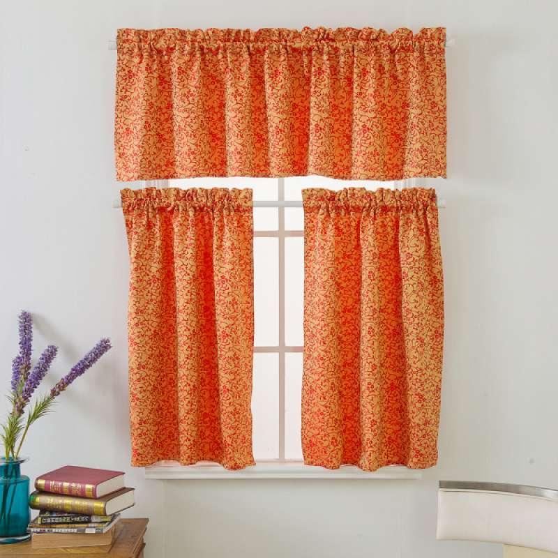 Jual Oem Red Elegant Kitchen Half Window Short Tier Curtains Panels 1 Set Online April 2021 Blibli