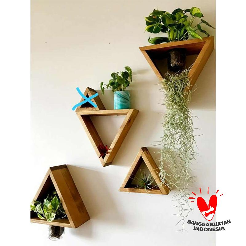 Bantalcustom com Segitiga Modern Natural Pine Wood Set Rak Dinding