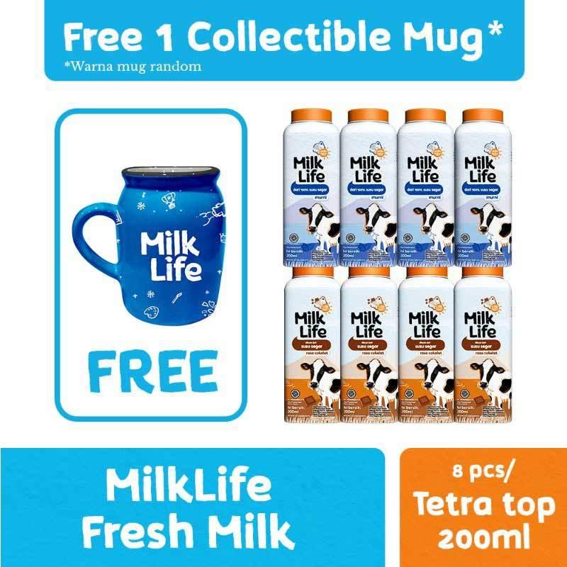 Jakarta MilkLife Fresh Milk Murni Cokelat 200 mL 8 Pcs Free Mug