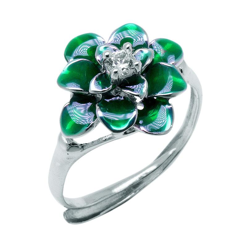Anna Silver Flower SWR-0002 Ladies Ring - Green