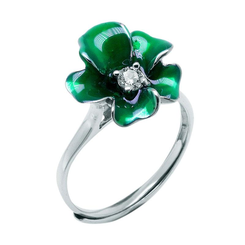 Anna Silver Flower SWR-0003 Ladies Ring - Green