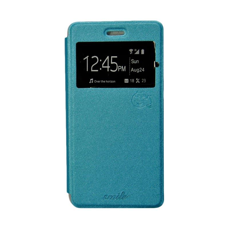 SMILE Flip Cover Casing for Samsung Galaxy E5 - Biru Muda