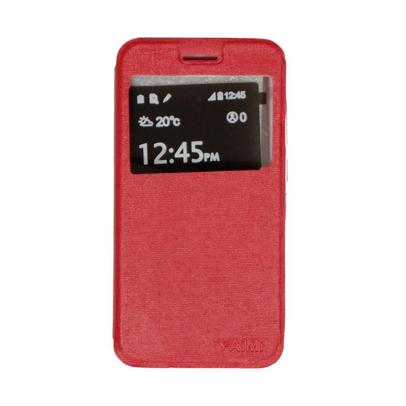Aimi Flip Cover Casing for Smartfren Andromax B - Red
