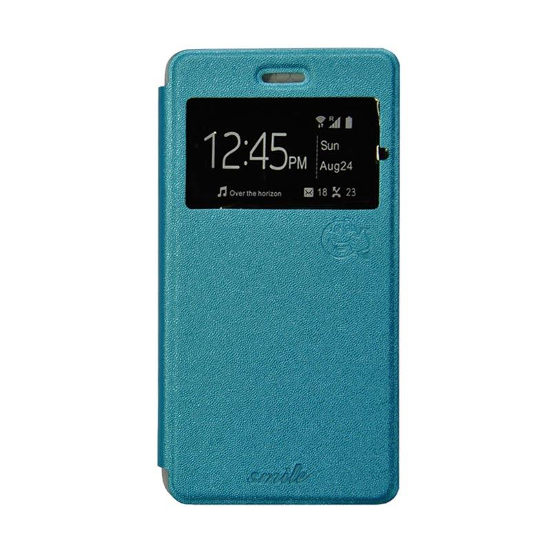 Smile Flip Cover Casing for Oppo Joy 3 A11 - Biru Muda