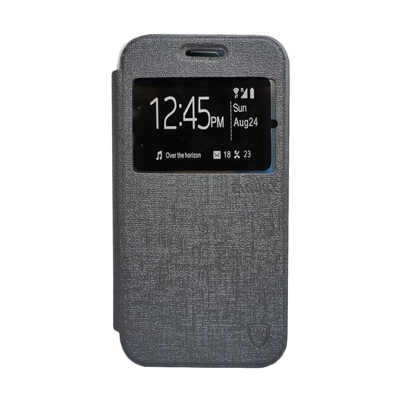 Zagbox Flip Cover Casing for Samsung Galaxy S6 Edge - Abu-abu