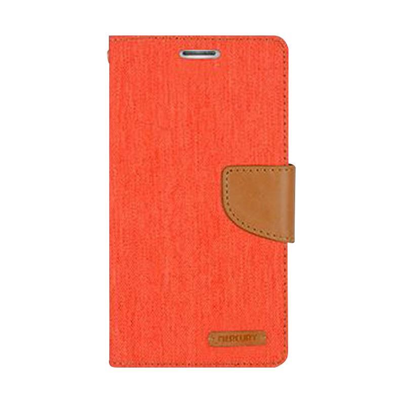 Mercury Canvas Diary Flip Cover Casing for Sony Xperia M - Orange