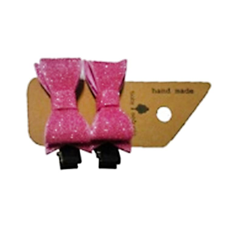 Baby Sequoia Glitter Felt Bow Clips - Pink