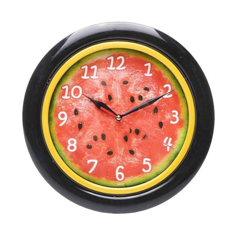 Miracle BA 18 Motif Buah Watermelon Jam Dinding - Ring Black [25 cm]