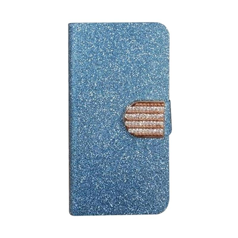 OEM Diamond Flip Cover Casing for ZTE Mighty 3C - Biru