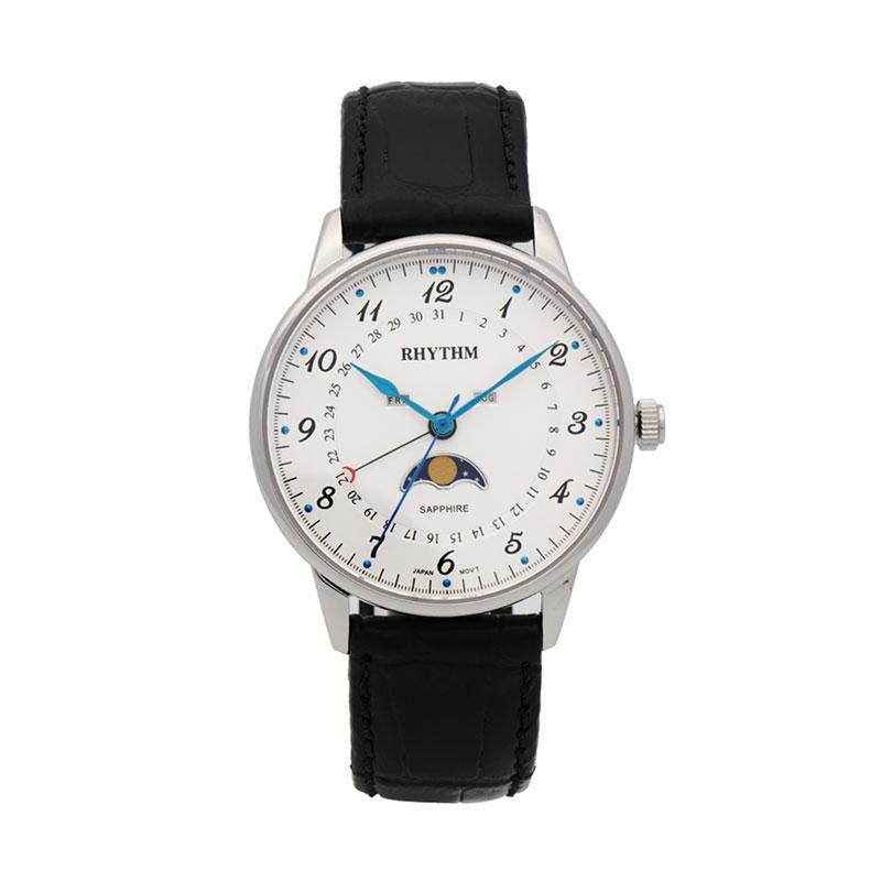 Rhythm FI1607L 01 Leather Jam Tangan Pria - Black White