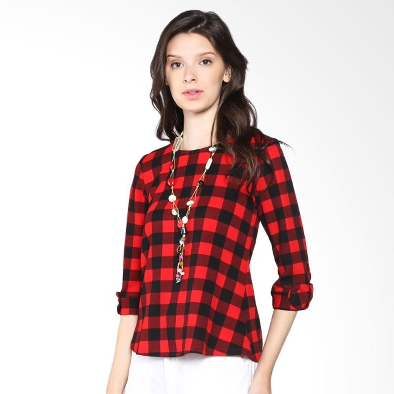 Carte Check Top With Necklace Atasan Wanita - Black Red