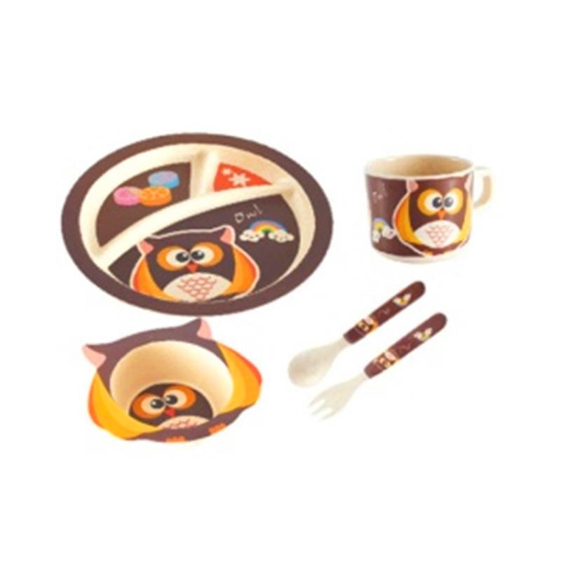 Eco Joy Bamboo Fiber Kids Set Peralatan Makan - Owl