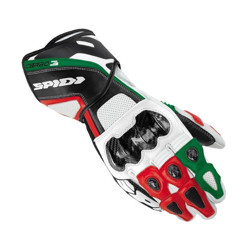 Spidi Carbo 3 Leather Sarung Tangan Full - Black Green