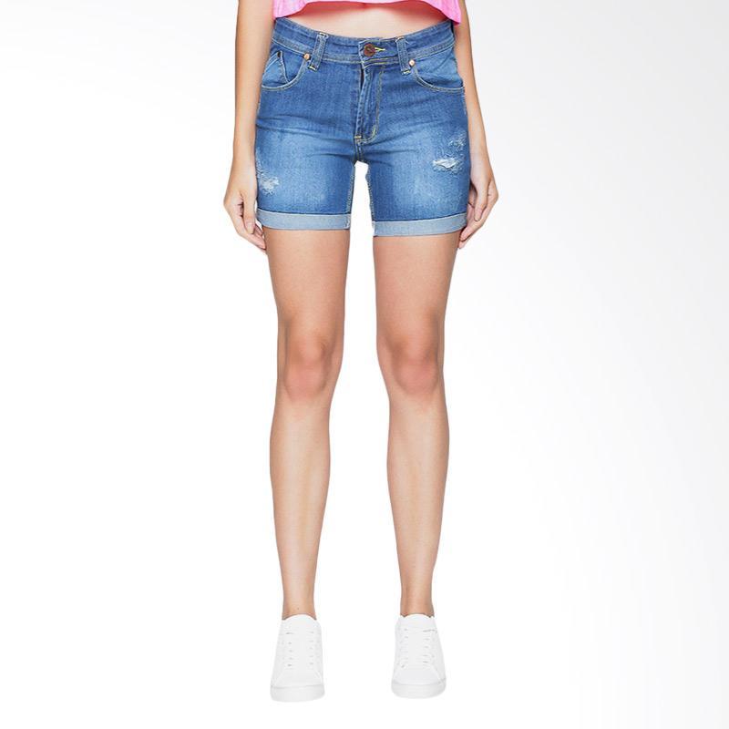 Spek Harga 2Nd RED 261621 Ripped Denim Shorts Straight - Light Blue Terbaru