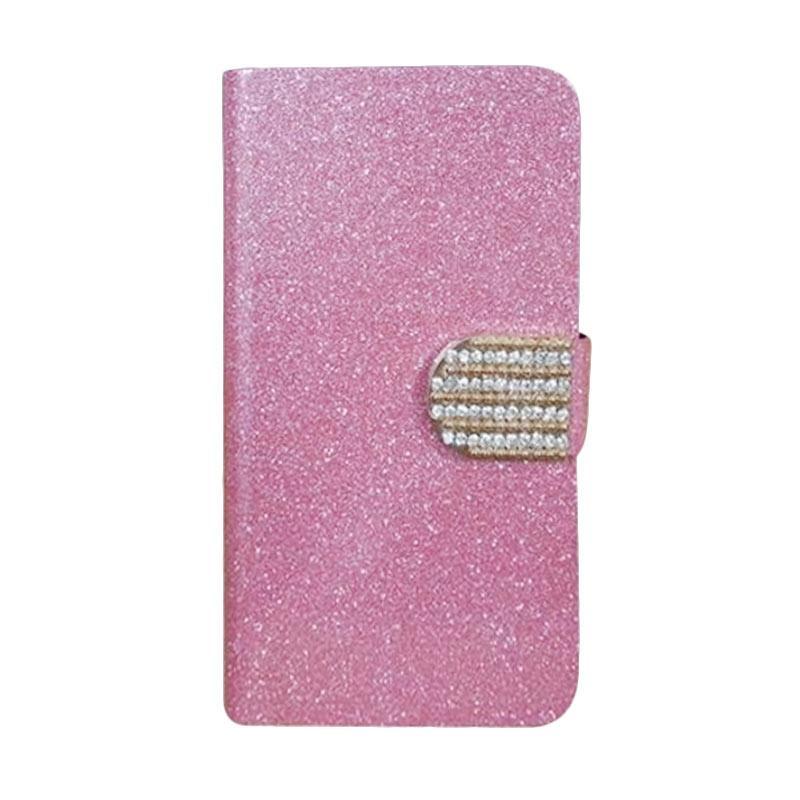 OEM Diamond Flip Cover Casing for LG V20 Mini - Merah Muda