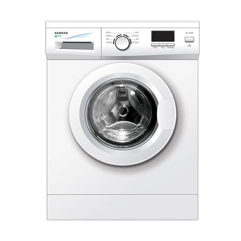 Sanken SFL-7000W Mesin cuci - Putih [Front Loading/6Kg]