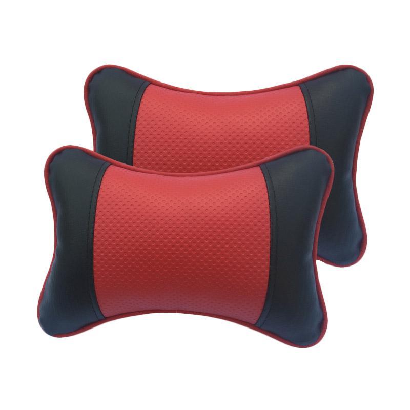 GL Motif Bintik Kulit Sintetik Bantal Mobil - Black Red