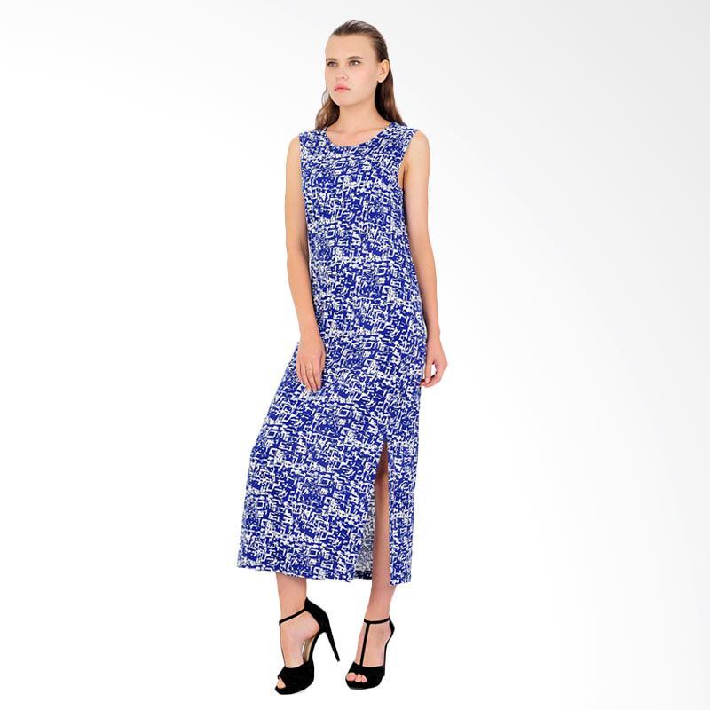 Vicensa Print Long Dress - Blue