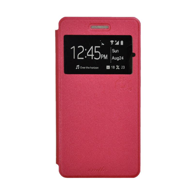 SMILE Standing Flip Cover Casing for Andromax R2 - Hot Pink