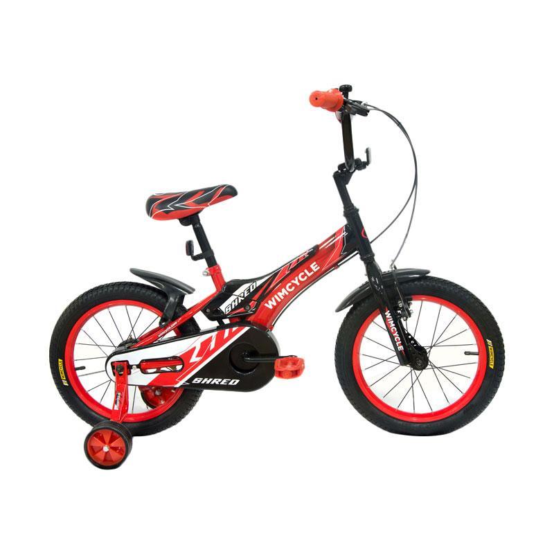 WIMCYCLE Shred BMX Sepeda Anak - Merah Hitam [16 Inch]