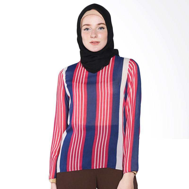 Rauza Rauza Amira Stripe Top Atasan Wanita - Pink Biru