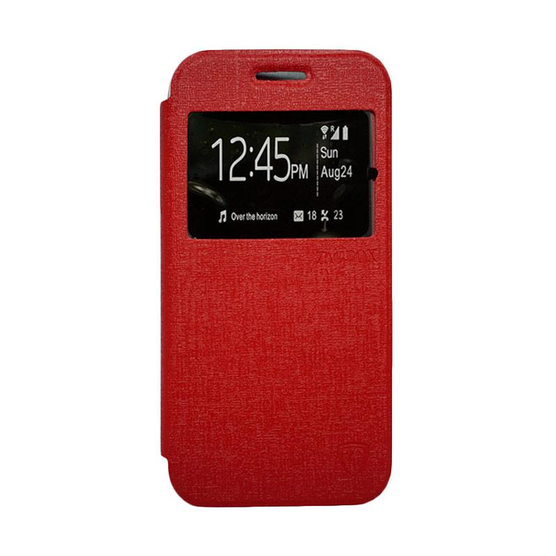 Zagbox Flip Cover Casing for Infinix Hot 3 - Merah