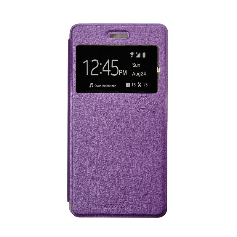 Smile Flip Cover Casing for Oppo Mirror 5 A51 - Ungu