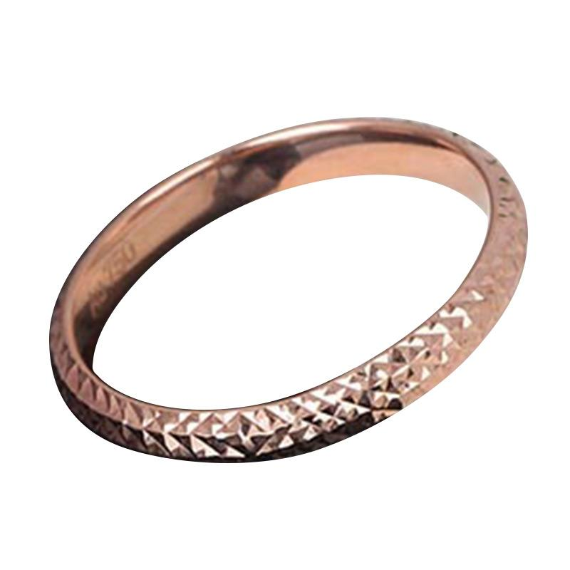 Tiaria Gold Ring Simple Sparkle Mesh Rose Gold 18K