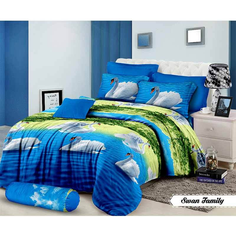 Mahkota Motif Swan Family Disperse Set Sprei