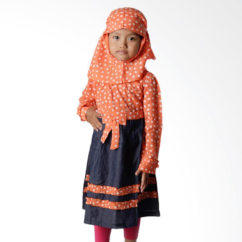 4 You Moslem Floral Dress Baju Muslim Anak - Orange