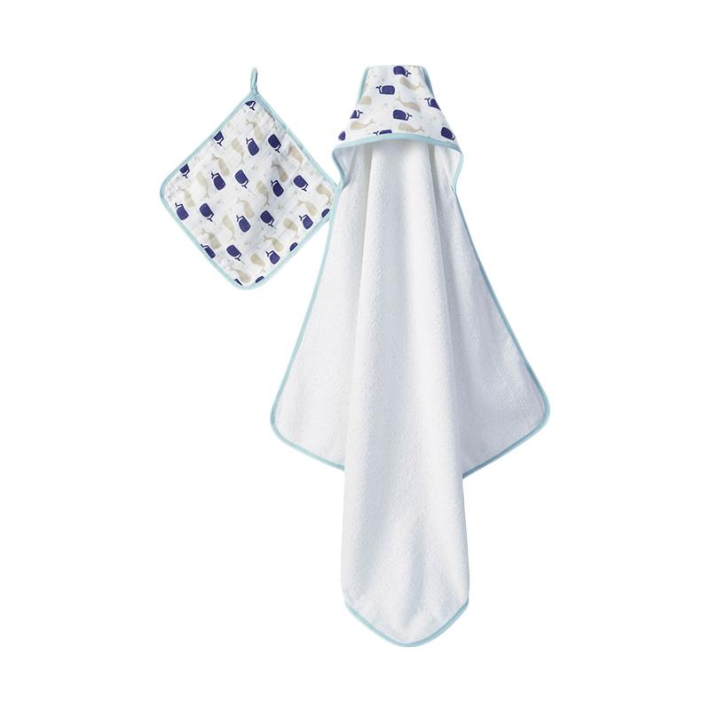 Aden+anais - Hooded Towel & Washcloth Set - High Seas - Handuk Mandi Bayi dan Anak