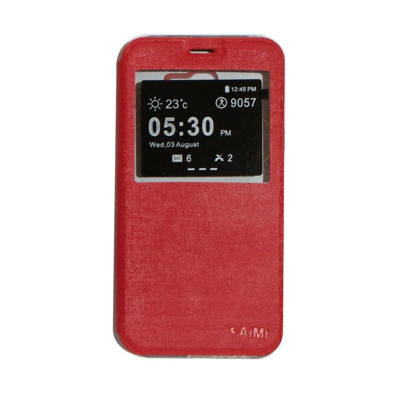 AIMI Flip Cover Casing for Samsung Galaxy A720 or A7 2017 - Red