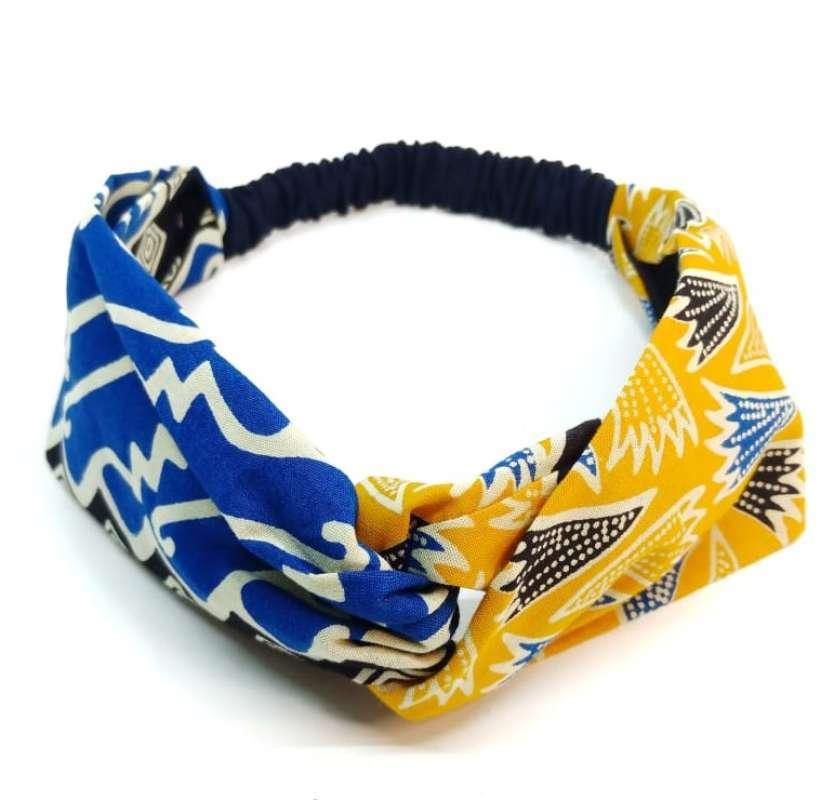 Bandana Batik Premium Biru Kuning Premium