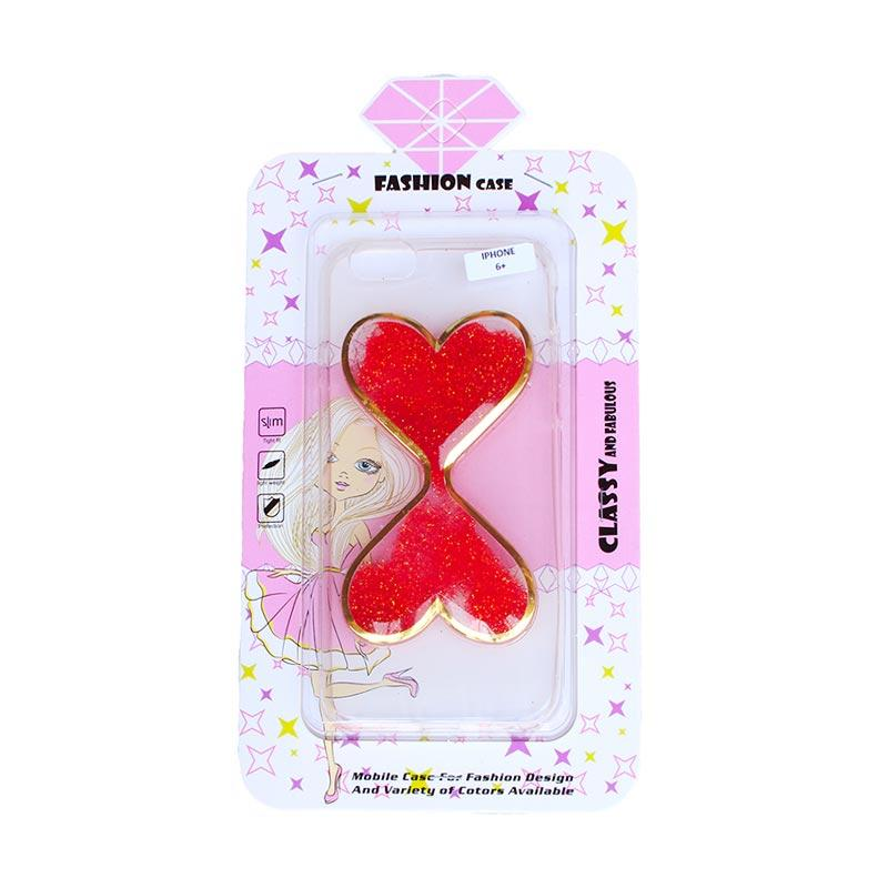 Fashion Gliter Love Casing for iPhone 6 Plus - Red