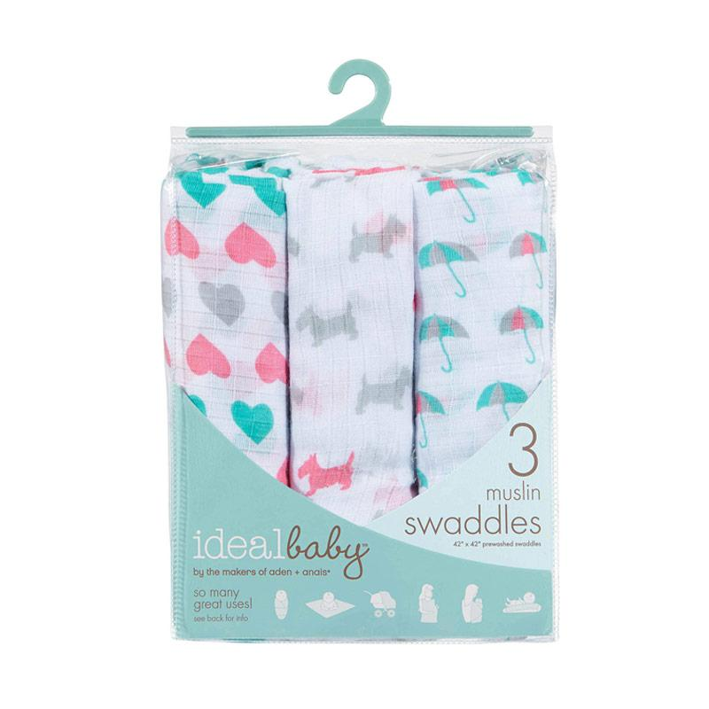 Ideal Baby - 3-pack Muslin Swaddles - Pretty Sweet - Kain Bedong Bayi dan Anak