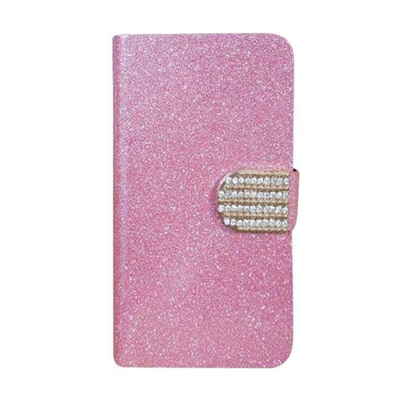 OEM Diamond Flip Cover Casing for Coolpad V5 - Merah Muda