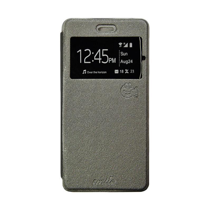 Smile Flip Cover Casing for Samsung Galaxy Note 5 - Abu-abu