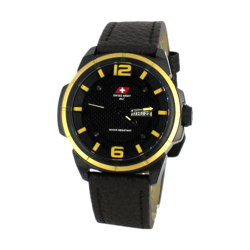 harga Swiss Army SA 6038M Jam Tangan Pria - Black Dark Brown Yellow Blibli.com