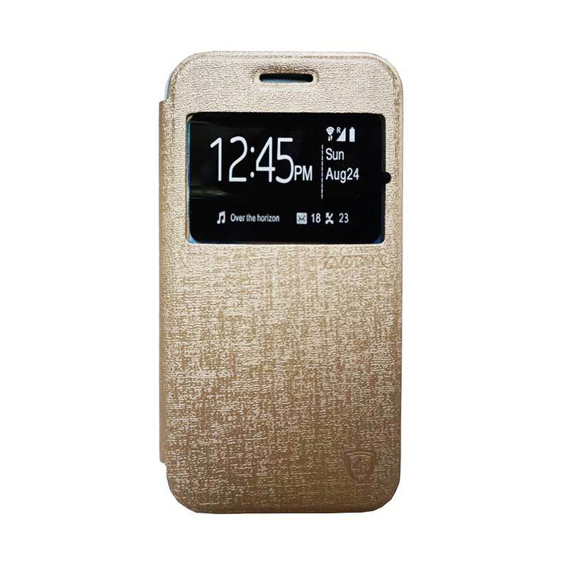 Zagbox Flip Cover Casing for Samsung Galaxy S7 Plus - Gold
