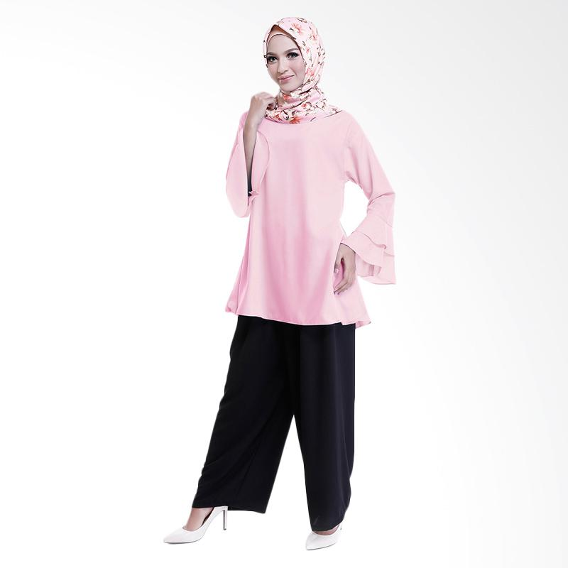 Cotton Bee Quincy Set Outfit - Dusty Pink (1 Set Hijab + Blouse + Culotte)