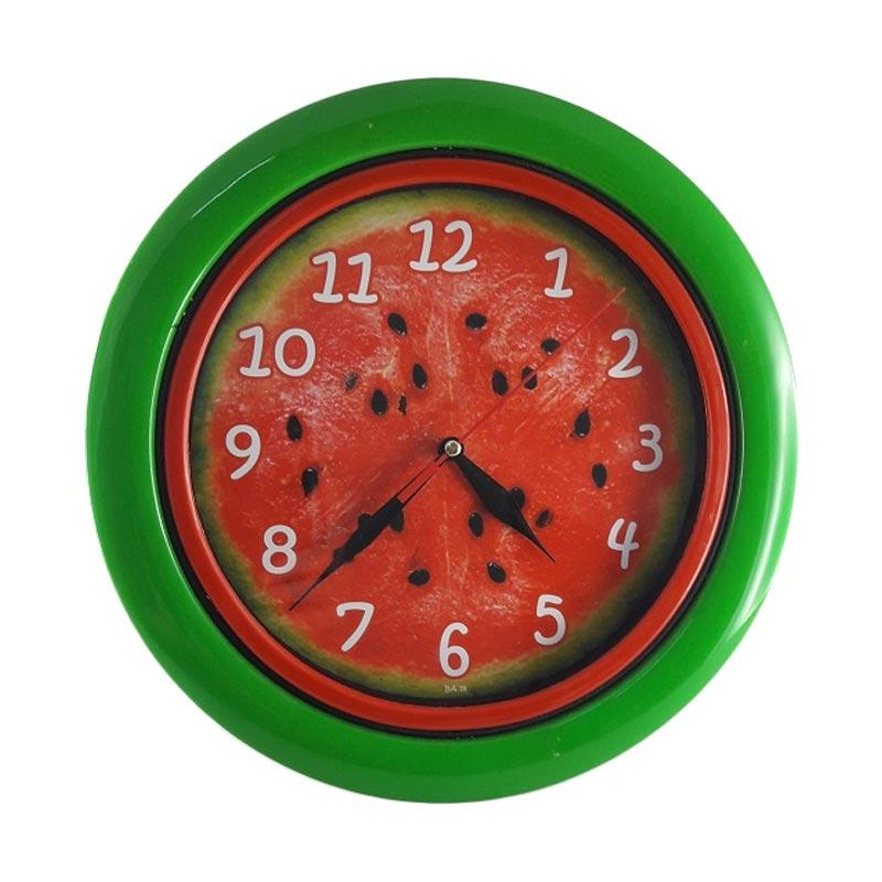 Miracle BA 18 Motif Buah Watermelon Jam Dinding - Ring Green [25cm]