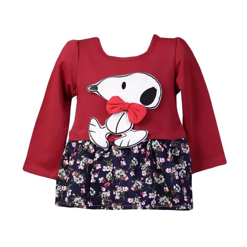Chloebaby Shop F990 Snoopy Setelan Anak - Red
