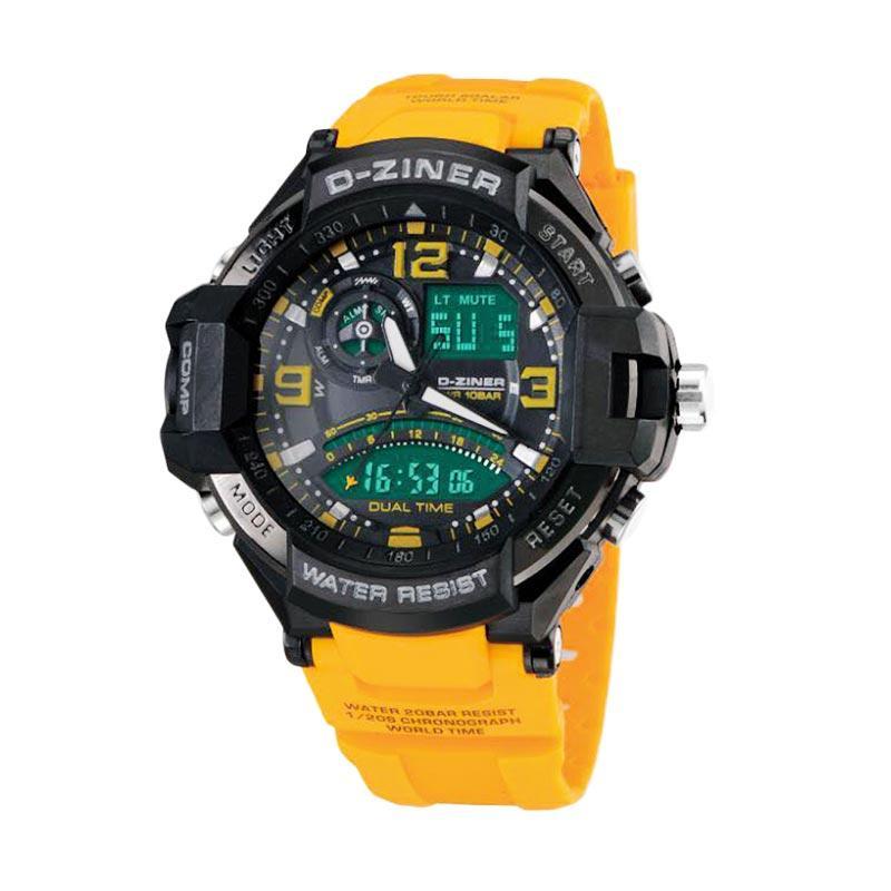 D-Ziner DZ0322 Dual Time Jam Tangan Pria - Kuning Hitam