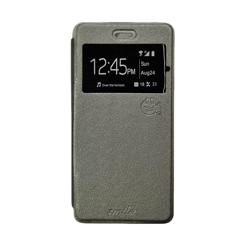 Smile Flip Cover Casing for Asus Zenfone Go ZC500TG - Abu-abu