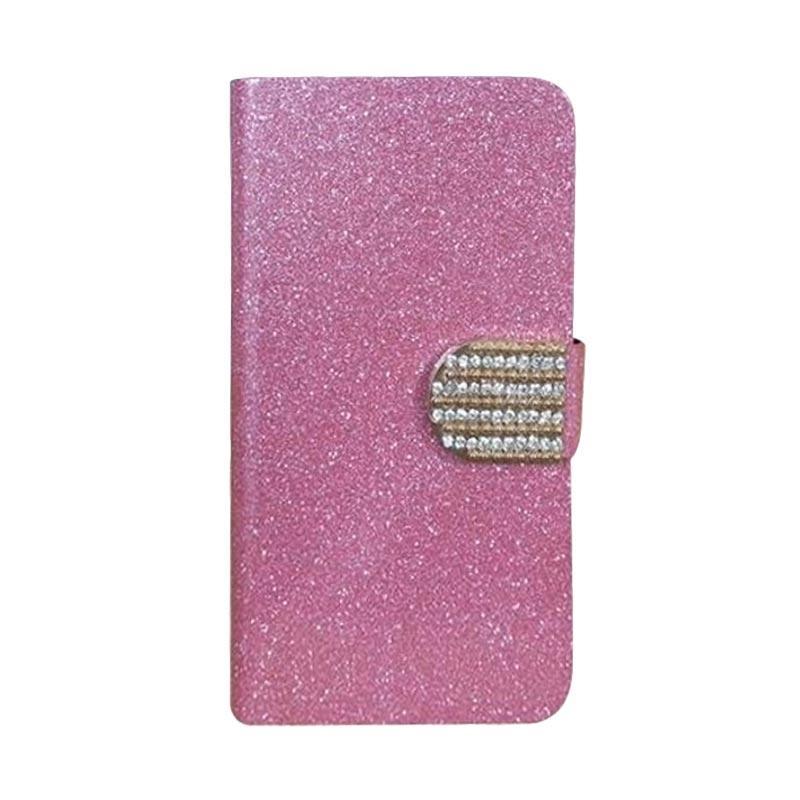 OEM Diamond Flip Cover Casing for Lenovo A2800 D - Merah Muda