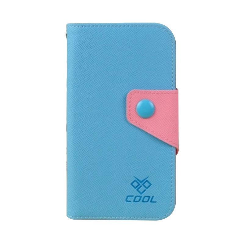OEM Rainbow Flip Cover Casing for HTC One M8 Mini - Biru