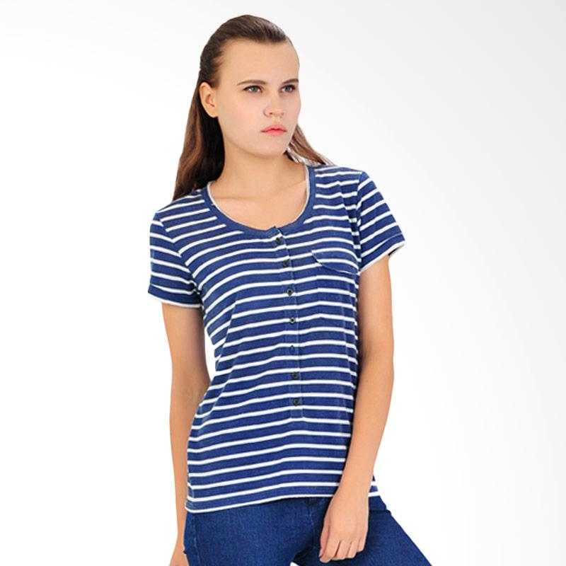 SJO & SIMPAPLY Fashioner Stripe Women's Blouse - Navy