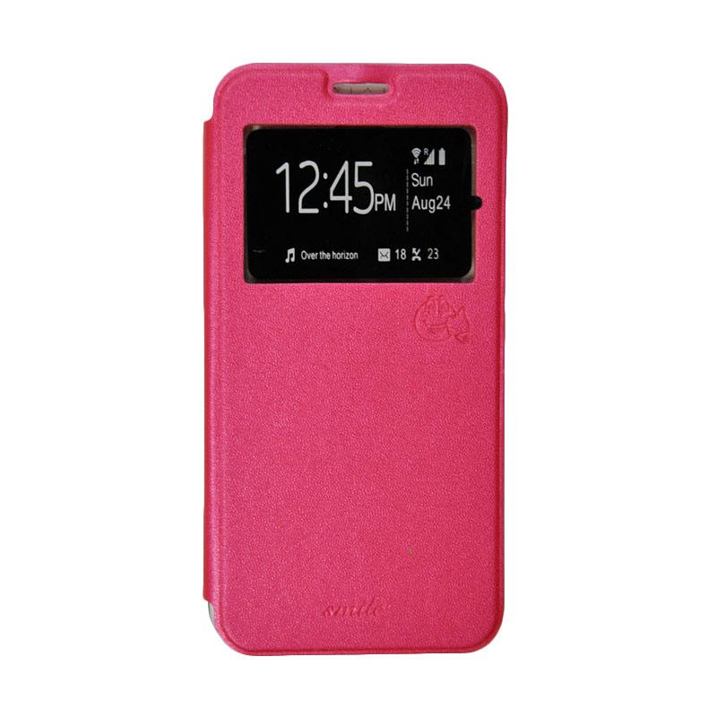 Smile Flip Cover Casing for Asus Zenfone Go ZB551KL 5.5 Inch - Hot Pink